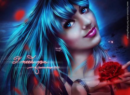 I Need You - fantasy, blue, rose, petals, lady