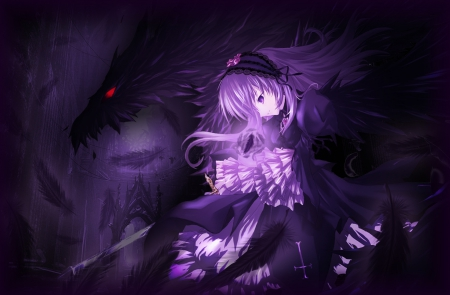 Suigintou - dress, glow, sparks, rozen maiden, creepy, anime, darkness, feather, gloomy, hot, anime girl, long hair, female, suigintou, gown, purple hair, gloom, sexy, rozen, girl, creep, dark