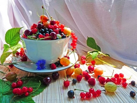 Various fruits - baked, table, colorful, saucer, fruit cup, various, abstract, still life, leaves, tasty, summer, flowers, diverse, other, natural