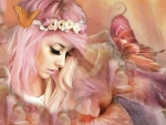 Fantasy Girl in Delicate Pink Floral