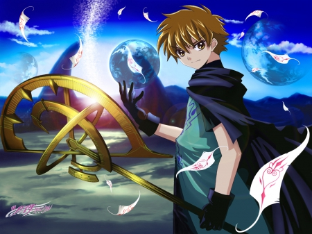 Syaoran - reservoir chronicle, glow, guy, tsubasa reservoir, magic, li, lee, xxxHolix, anime, feather, handsome, hot, tsubasa, clamp, light, shaoran, Tsubasa Reservoir Chronicle, Tsubasa Chronicles, male, reservoir, brown hair, sexy, syaoran, short hair, boy, ight, cool, magical