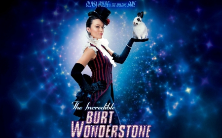 The Incredible Burt Wonderstone (2013) - rabbit, The Incredible Burt Wonderstone, movie, olivia wilde, black, magic, woman, jane, hat, girl, actress, beauty, white, pink, blue