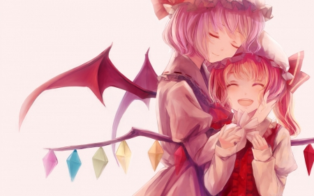 Sisters - crystals, vampires, anime girls, sisters, beautiful, bow, remilia scarlet, sweet, demons, touhoz project, art, wings, joy, flandre scarlet, short hair, cute, bonnet, garyljq