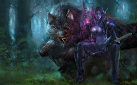 Elf warrior and werewo...