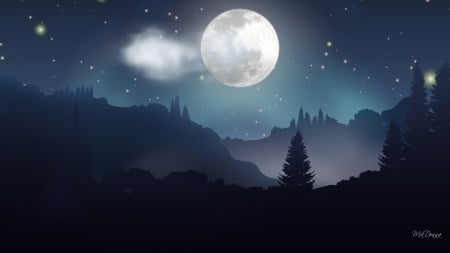 Moonlight Forest Night Stars Forest Woods Twilight Trees Sky