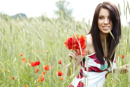 Brunette Model - model, pose, smile, countryside, cute, brunette, flowers, felame, long hair