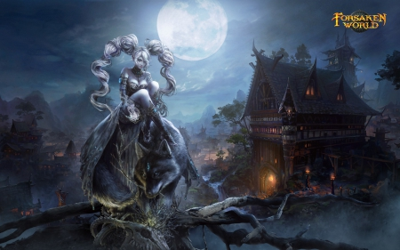 Forsaken World - Dark Age - fighter, game, woman, animal, fantasy, moon, girl, dark age, lycan, dark, mansion, forsaken world, werewolf, blue, night