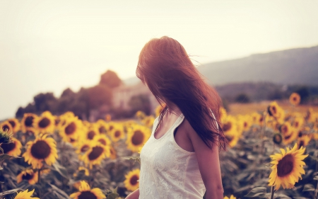 ** - hair, models, sunflowers, flowers, sky, n, mood