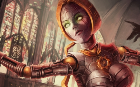 Orianna - orianna, fighter, orange, green eyes, cyborg, game, woman, robot, league of legends, fantasy, girl