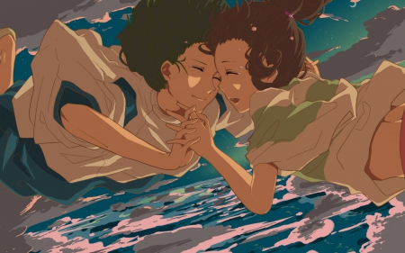 Chihiro and Haku - chihiro, anime movie, spirited away, brown hair, sky, clouds, haku, sea, boy, girl, crying, anime, flying, couple, stras