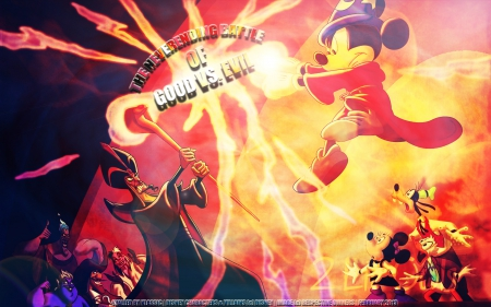 Good Vs. Evil - cartoons, hades, minnie mouse, animated, movie, goofy, daisy duck, jafar, captain hook, villians, mickey mouse, heroes, disney