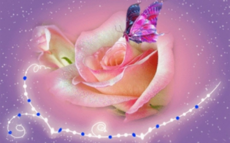 Pink Rose and Butterfly