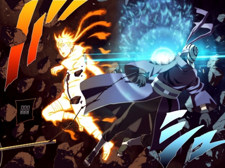 Naruto vs Obito - war, naruto, rasengan, anime