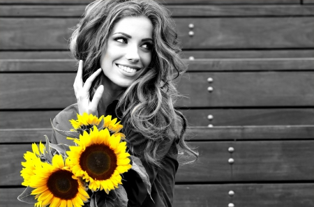 Happy Day - black and white, yellow, beautiful, sunflower, smile, woman, photography, girl, sunflowers, beauty, face