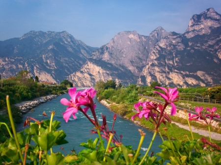 Mountain river view - rocks, riverbank, shore, lovely, view, beautiful, sky, mountain, nice, water, cliffs, summer, flowers, village, nature, river