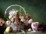 Basket  with beautiful  roses - Still life