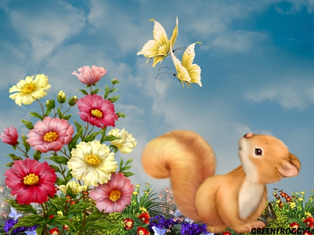 AT PLAY - SQUIRREL, FLOWERS, BUTTERFLIES, LITTLE