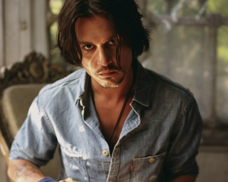 Johnny Depp - male, look, johnny depp, man, actor, blue