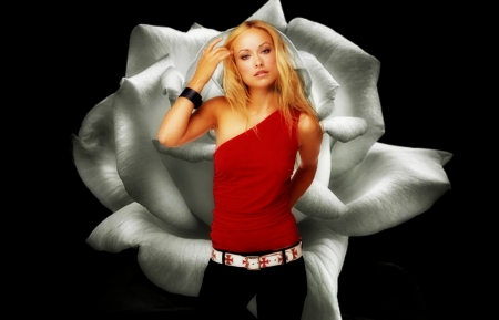 Olivia Wilde - red, rose, olivia wilde, black, blonde, by cehenot, woman, girl, actress, flower, white