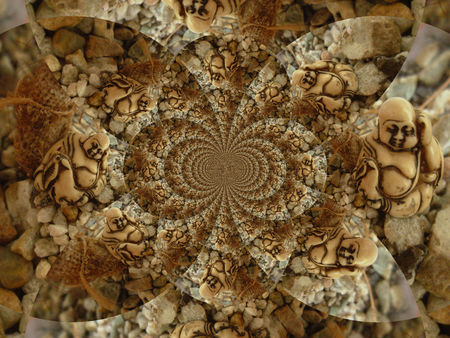 The Buddha in Kaleidoscope - buddha, kaleidoscope, brown, earth