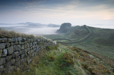 Hadrian's Wall - frontier, ancient, grass, england, rome, wall, mist, wild, moor