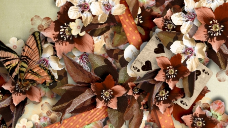 In Autumn Colors - fall, autumn, ribbon, browns, playing cards, butterflies, tan, floral, leaves, summer, flowers, rusts