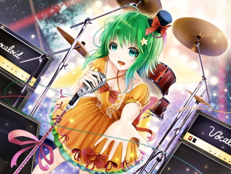 Ready To Do This? - vocaloid, microphone, anime, drums, gumi, green hair, hat
