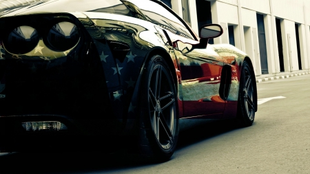 chevrolet_corvette_american_flag - red, car, white, flag, blue