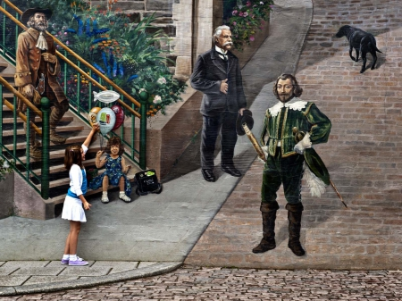Past and Present - trick, mural, photography, Quebec City, history