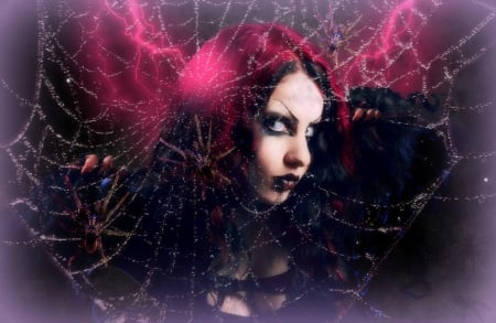 ~Spider Girl~ - halloween, magic, digital art, women, hair, spiderweb, fantasy, beautiful girls, photomanipulation, girls, model, creative pre-made, spider girl, lightning, dark, weird things people wear, backgrounds, eyes