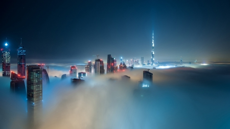 fantastic skyscrapers through the fog in dubai - night, lights, fog, skyscrapers