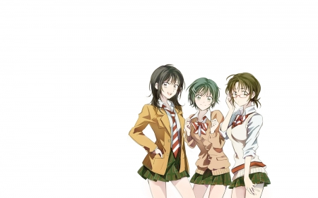 Coppelion Girls - Taeko, Ibara, Taeko Nomura, Classmates, Aoi, Friends, Coppelion, School Uniform, Anime, Aoi Fukusaku, Smile, Anime Girls, Seifuku, Big Eyes, Ibara Naruse