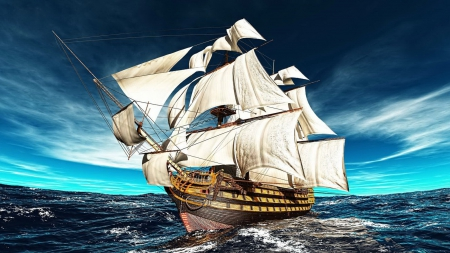 Sailing frigate - amazing, lovely, ocean, sailing, beautiful, waves, sky, sea, frigate, nice, water, ship, nature, sailboat, blue