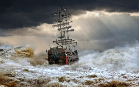 Tall Ship In Stormy Waters Sailboats Boats Background Wallpapers On Desktop Nexus Image 1585205