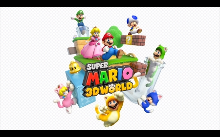 SUPAH MARIO 3-D WORLD - Luigi, Cat Blue Toad, Cat Luigi, Blue Toad, Mario, Cat Mario, Nintendo, Cat Peach, Princess Peach, Wii U, Super Mario 3d World