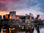 ruins of caerphilly castle in wales