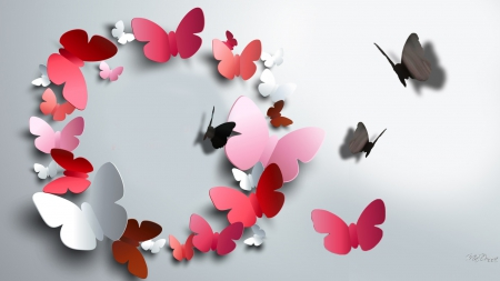 Circle of Paper Butterflies - gray, cut outs, shadow, butterflies, abstract, delicate, fantasy, papillon, paper