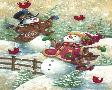DECEMBER 10TH - PUZZLE, SNOWMAN, BIRDS, SNOWWOMAN, RED