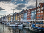 canal in the nyhavn district of copenhagen