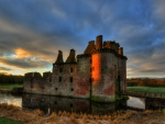 ancient moated caerlaverock castle in scotland