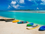 Canoes on Beach in South Pacific