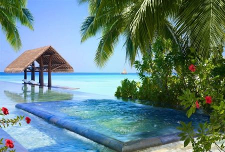 Beautiful Pool on Tropical Beach - islands, exotic, ocean, hibiscus, pool, sea, lagoon, beach, sand, paradise, flowers, jacuzzi, island, tropical, swimming, blue