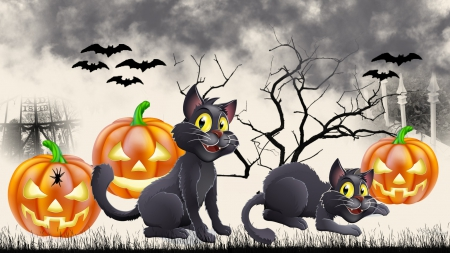 Cats & Jacks - bats, grass, cemetery, black cats, sky, clouds, dead tree, cute, whimsical, scary, Halloween, jack-o-lanterns