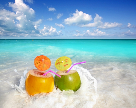 Fresh drinks - beach, juice, food, drinks, coconut