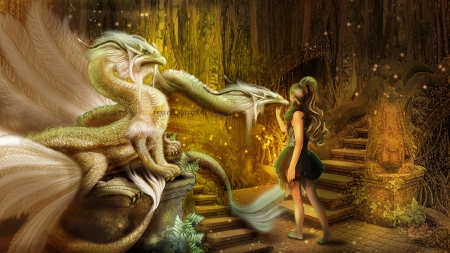 ~Le Jardin des Dragons~ - Le Jardin des Dragons, pretty, lovely, model, the garden of dragons, softness beauty, creative pre-made, digital art, dragons, fantasy, beautiful girls, photomanipulation, weird things people wear, garden, girls, backgrounds