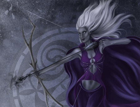 Dark Elf Archer - purple, dark elf, bow, spider webs, woman, arrow