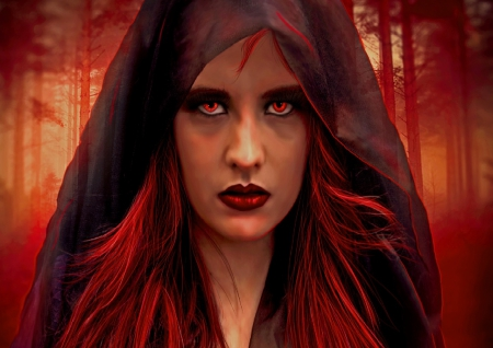 Red Witch - fantasy, woman, red eyes, red hair, woods