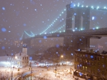 New York on a snowy winter night