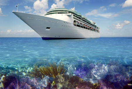 Fantasy Coral Reef Cruise - holiday, sea, exotic, tropical, cruise, fantasy, liner, reef, ocean, boat, paradise, lagoon, ship, coral