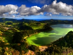 beautiful lake on san miguel island in the azores